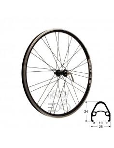 Hjul fram 559-19 db/sv RD/Shimano® RM-40 36h snabbkoppling 252mm eker