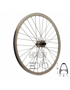 Bakhjul Single Speed dubbelbottnad Flip/flop mutter 17T, 32 ekrar silver 622 mm