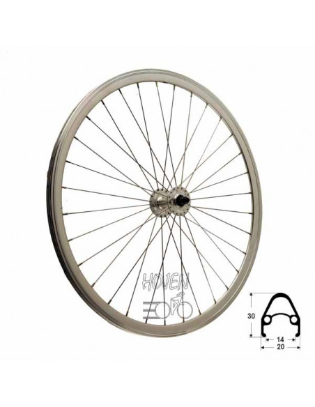 Framhjul Single Speed dubbelbottnad Mutter, 32 ekrar silver 622 mm