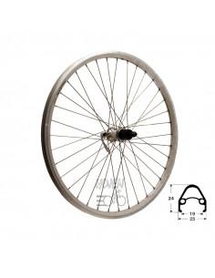 Hjul bak 559-19 db/silv 7d qr, RD/Shimano® RM40 36h snabbkoppling 255/254mm eker