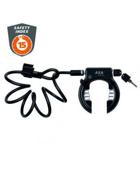 AXA Låsset Solid Plus Ringlås + Newton Plug-in Wire