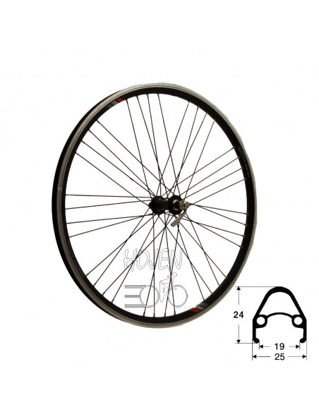 Hjul fram 559-19 db/sv 9x4 qr, RD/Shimano® RM-40 36h snabbkoppling 252mm eker